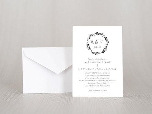 Simple Wreath Wedding Invitation Set