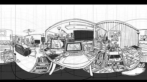 Template con retícula en perspectiva 360º