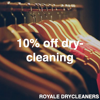 Royale Drycleaners - 10% discount on dry cleaning
