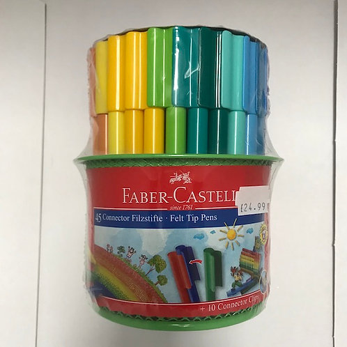 Faber-Castell 45 Connector Felt Tip Pens in Metal Mesh Tin at JJ Toys