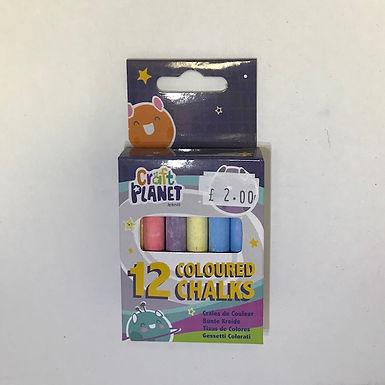 12 Coloured Chalks at JJ Toys