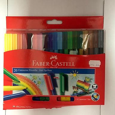 Faber-Castell 20 Connector Felt Tip Pens at JJ Toys
