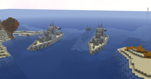 Schiffe und U-Boote blockieren den Weg