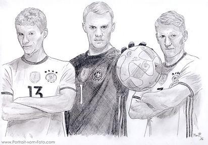 Thomas Müller, Manuel Neuer, Bastian Schweinsteiger - Zeichnung von Manfred Hilberger