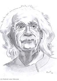 Albert Einstein - Zeichnung von Manfred Hilberger