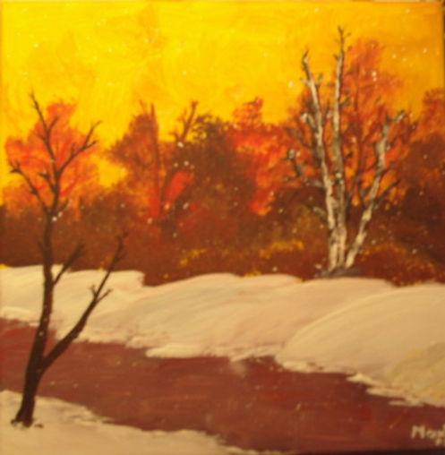 Winter am Bieberbach - Gemälde von Manfred Hilberger