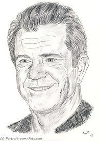 Mel Gibson - Zeichnung von Manfred Hilberger