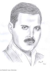 Freddie Mercury - Zeichnung von Manfred Hilberger