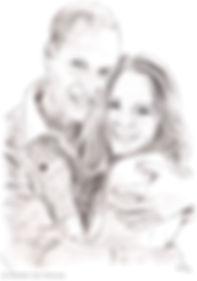 William und Kate - Zeichnung von Manfred Hilberger