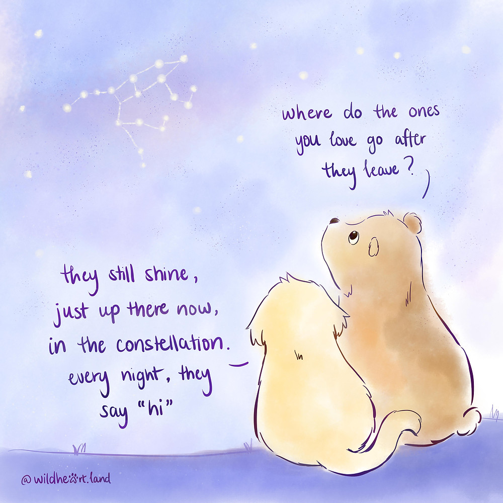 """bear and puppy gazing in the sky. """"where do the ones you love go after they leave?"""" """"they still shine, just up there now, in the constellation. every night, they say """"hi""""."""""""