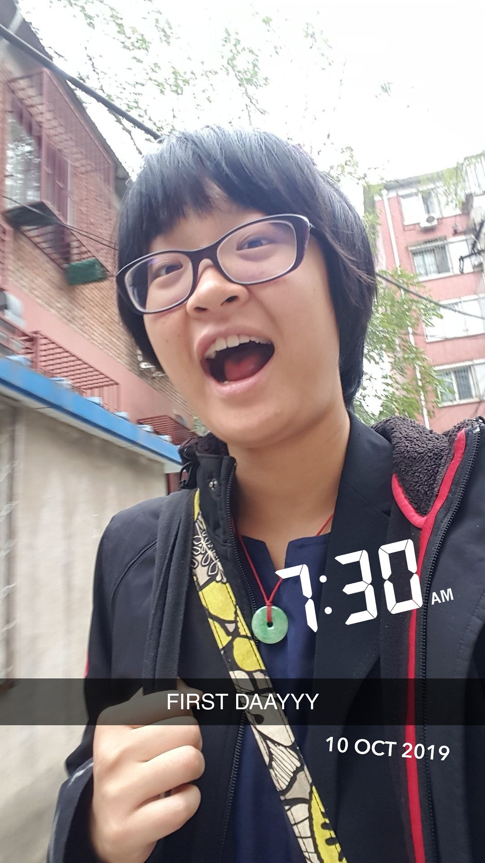 """Vicky excited for her first day at her internship. Caption is """"FIRST DAAYYY"""", with a 7:30am timestamp."""