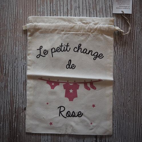 """Pochon 100% coton BIO """"Le petit change""""de Rose"""
