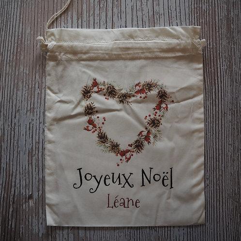 "Pochon 100% coton BIO ""Joyeux Noel"" Léane"