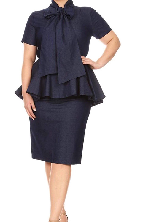 Blue Denim Bow Dress