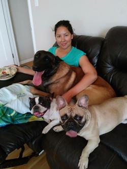 The whole family enjoying a lazy Saturday morning.