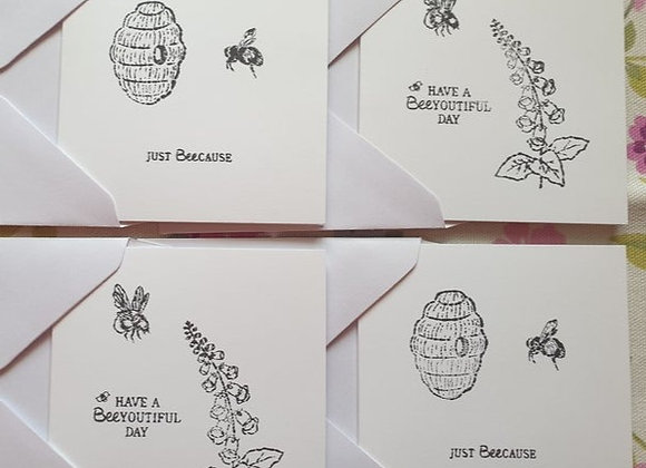 Pack of 4 Bee Cards & Envelopes