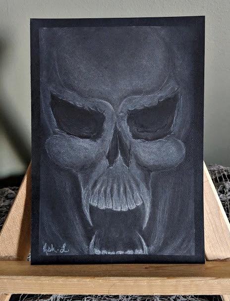 Skull Sketch by Ash. L. - Framed