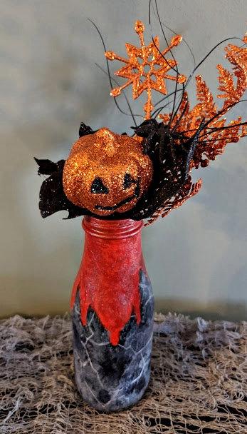 """Halloween themed """"revamped"""" bottle."""