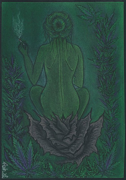 """The Green Goddess"" by Ash. L. - Framed Original"