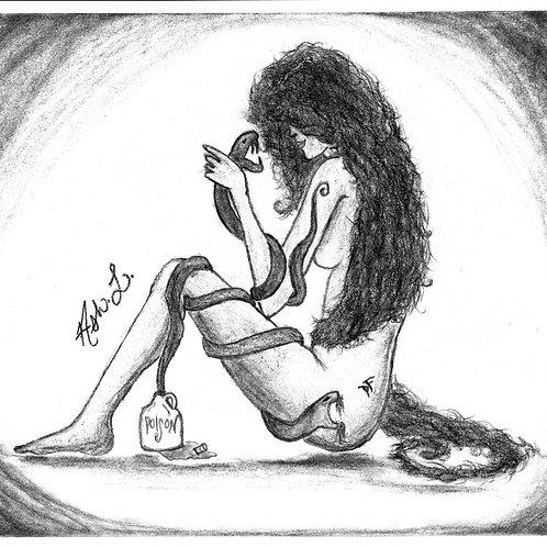 """""""Lady Snake-Handler"""" by Ash. L. -Framed Original"""