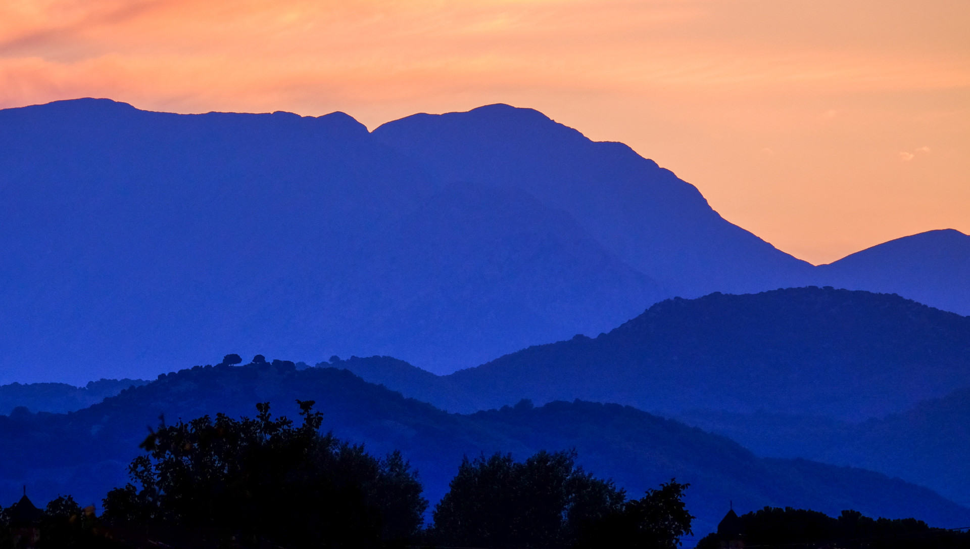 Mountains, Grecce, Sunset at blue and or