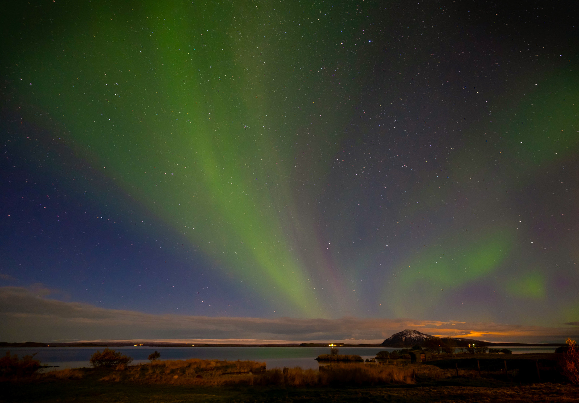 Aurora borealis-Nothern lights, at lake Myvtan, iceland