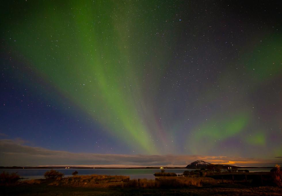 Aurora borealis-Nothern lights, at lake Myvtan, iceland