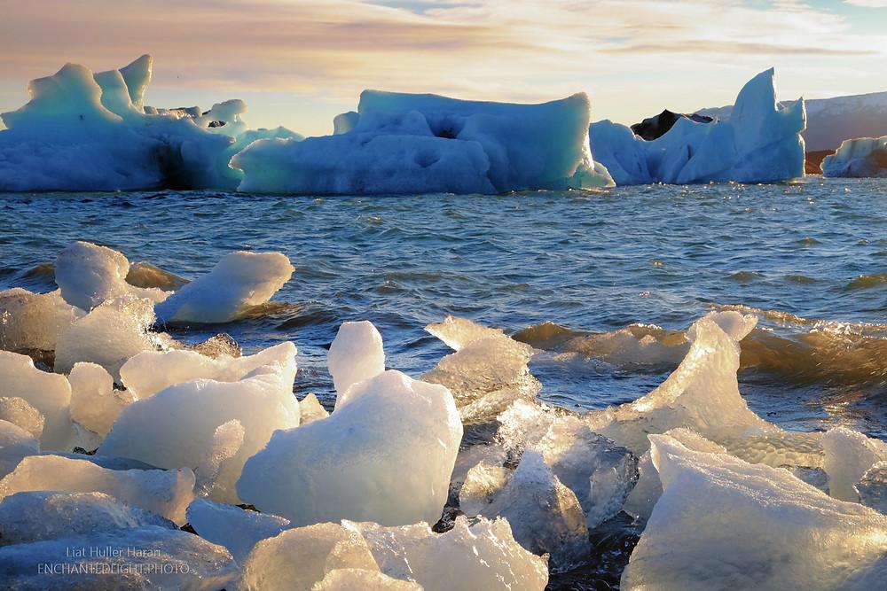 Jökulsárlón Iceberg Lagoon at sunset
