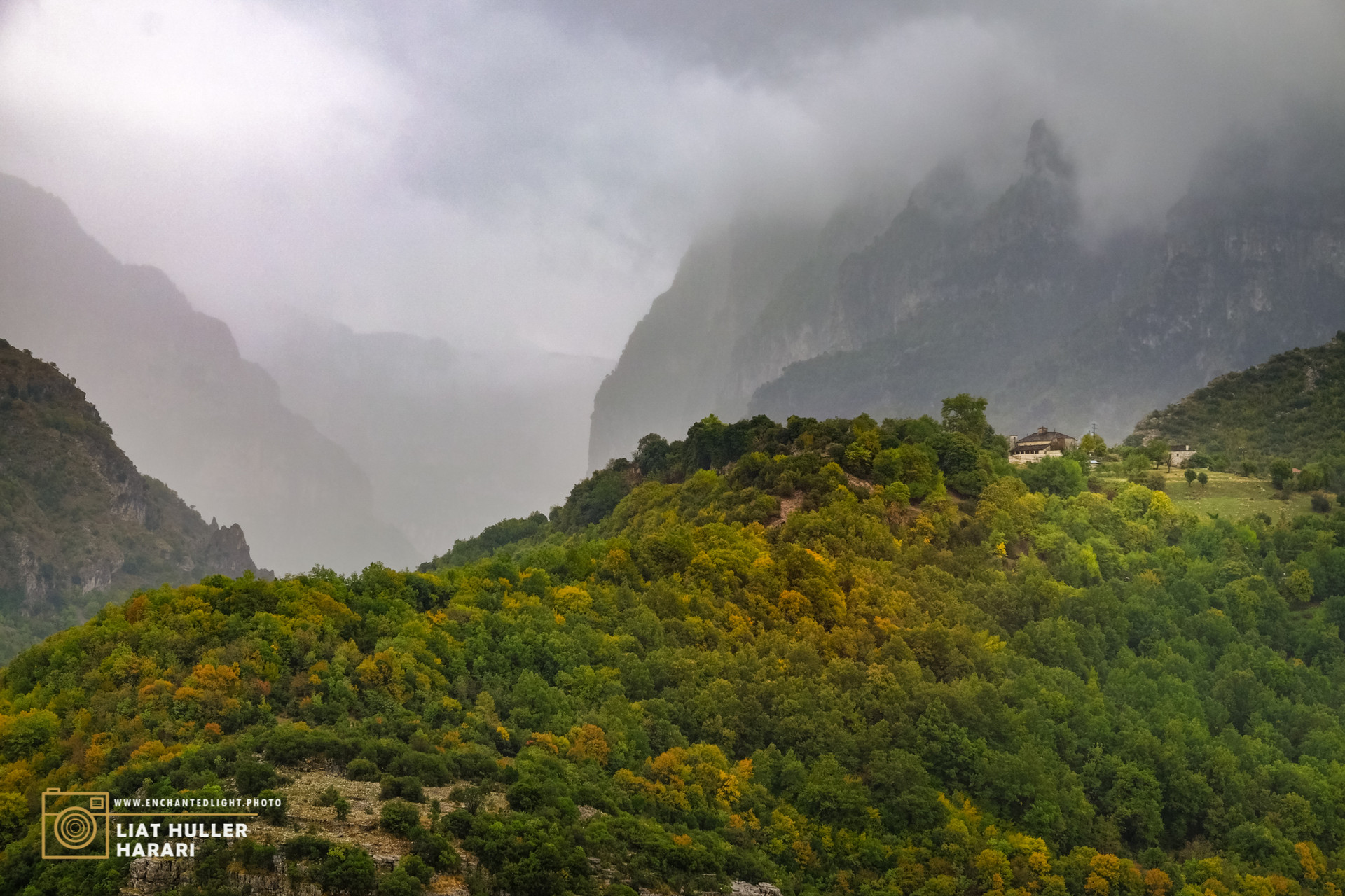 a foggy mornning in zagori mauntains, greece