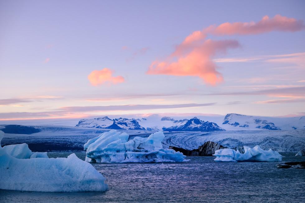 Jokulsarlon Glacier Lagoon, sunset, Iceland
