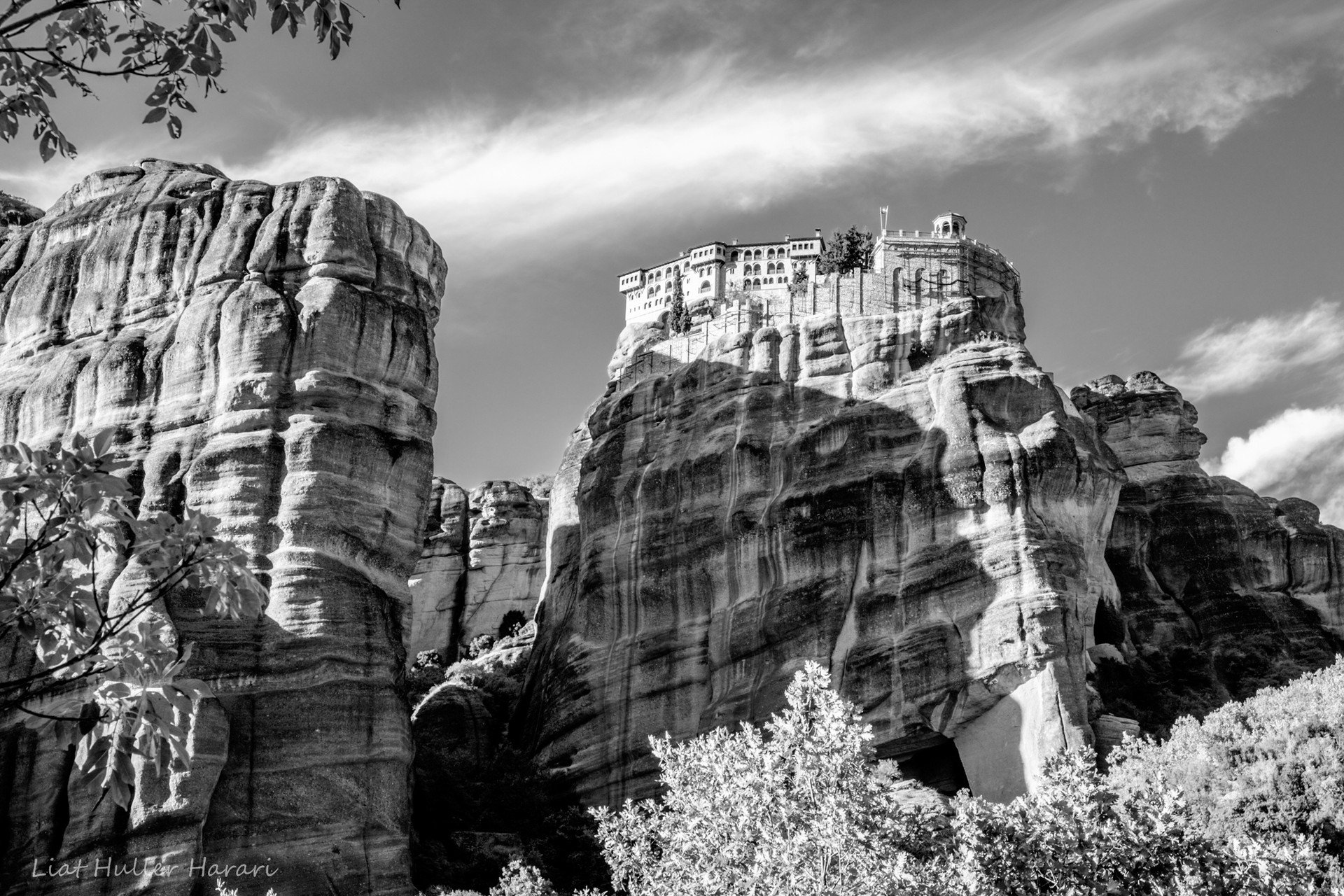 Meteora, Greece, in black and white