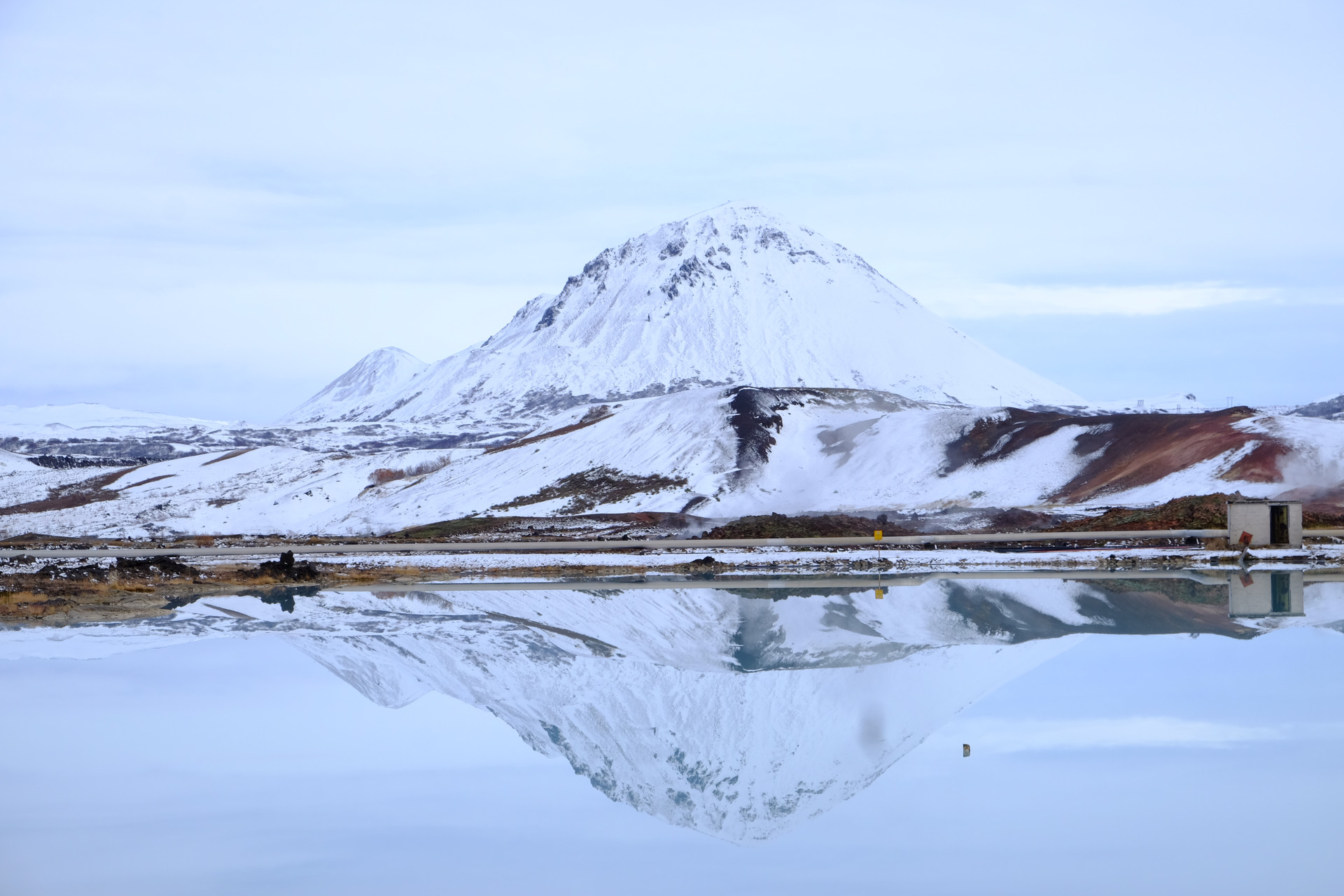 snow at Mývatn lake, Iceland