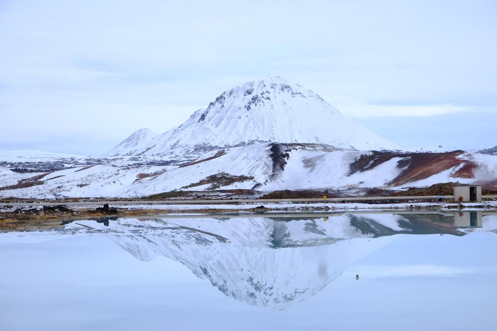 snow at Mývatn lake, Iceland