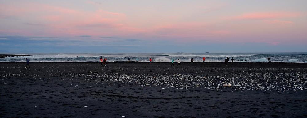 Sunset at thediamond beach, iceland