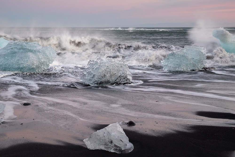 Sunset at the diamond beach, Iceland