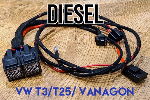 SHC VW T25 T3 Vanagon Round Headlight Relay, Wiring Loom, Upgrade (Diesel)