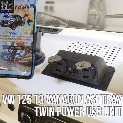 SHC VW T25 T3 Vanagon Ashtray TWIN Power USB Unit