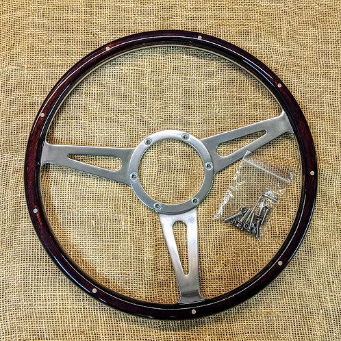 """VW T25 T3 Vanagon SHC Dark Wood 15"""" Steering Wheel Kit"""