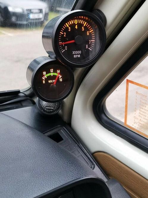 """VW T25 T3 Vanagon Pillar Mount 52mm 2 1/16"""" Gauge pods. Double A-Pillar RHD"""