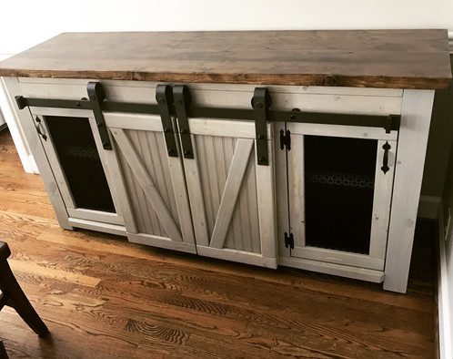 Genial This Piece Of Furniture Combines The Cleanliness Of A Cabinet With The  Ability To Easily Show And Store. The Sliding Barn Door Allows For Many  Functions  ...