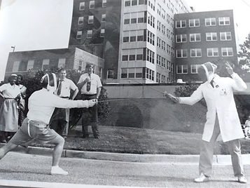 Dr. Durakovic (right) fencing with a colleague, VA Medical Center, Wilmington, Delaware, early 1990s