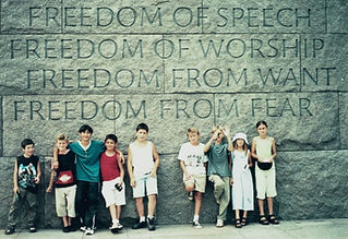 Project Life orphans from Caucasus and Bosnia pose at Four Freedoms monument, Washington D.C. summer 2000