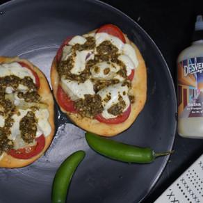Margherita Flatbread Pizza Drizzled with Pesto & Desvelados Recipe