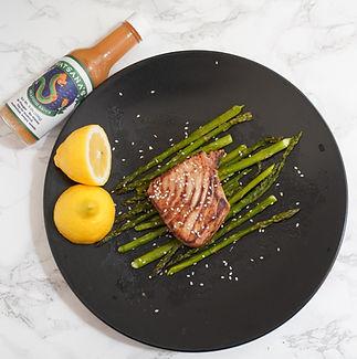 vatsanas-seafood-sauce-tuna-steak-aspara