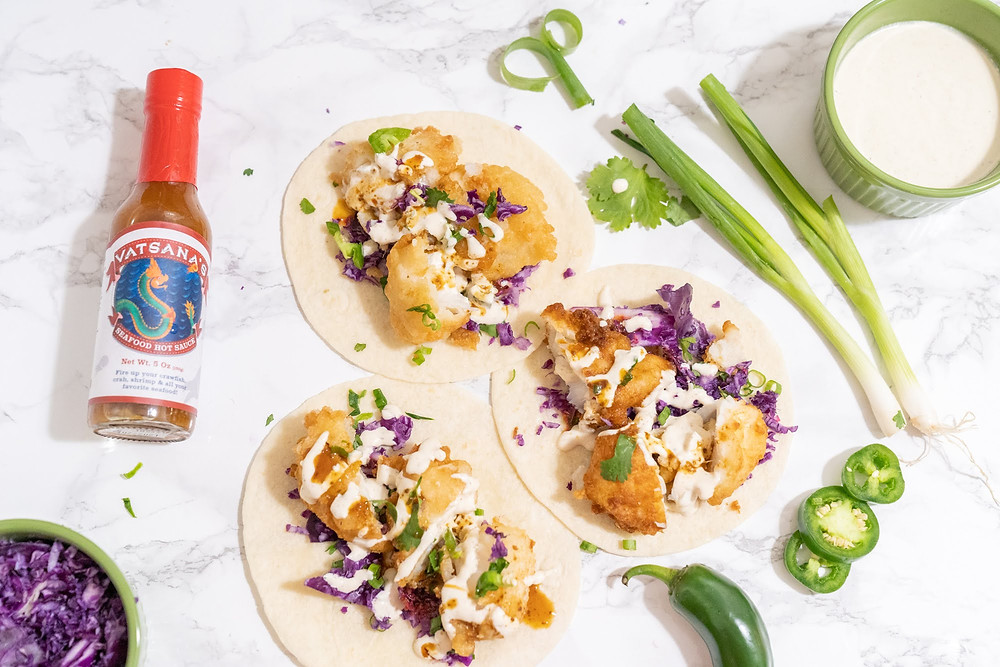 vatsanas seafood hot sauce ingredients fried fish taco tuesday cod tortilla jalapenos lime spices cilantro creamy
