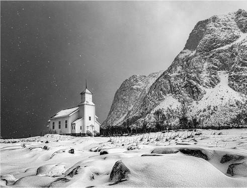 Incoming Snow at Gimsoy Church
