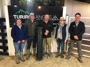 From left: Kylie and Ben Johnson from Orere Angus, Andrew, Penny Hoogerburg and Nick Carr from Kaharau Angus.
