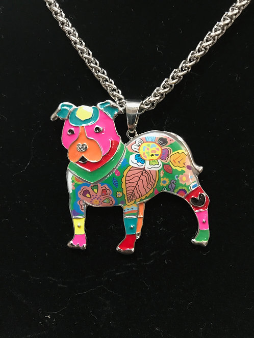 Mosaic Pit Bull Necklace