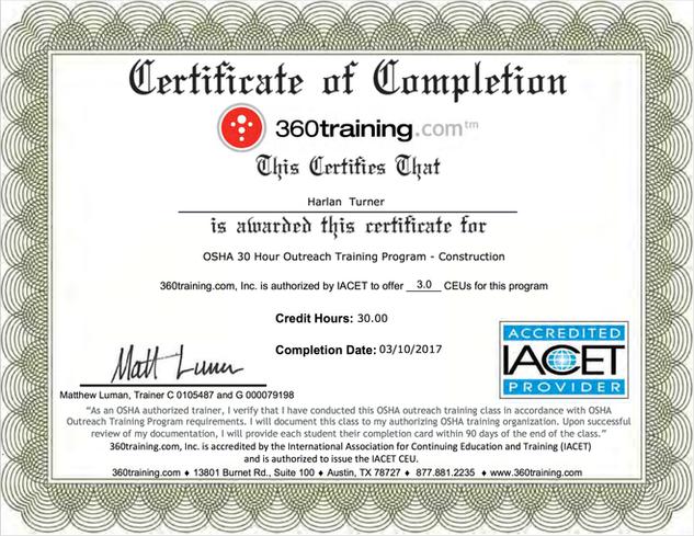 360 Training Certificate OSHA Program Certified