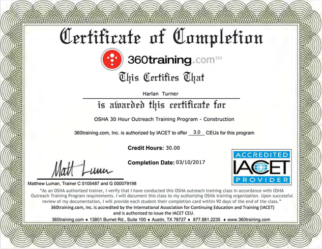 360 Training Certificate OSHA Program Certified
